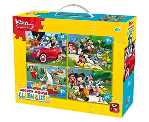 King 5505Disney 4-in-1puzzle Mickey Mouse (12/16/20/pezzi)–4puzzle in una valigia
