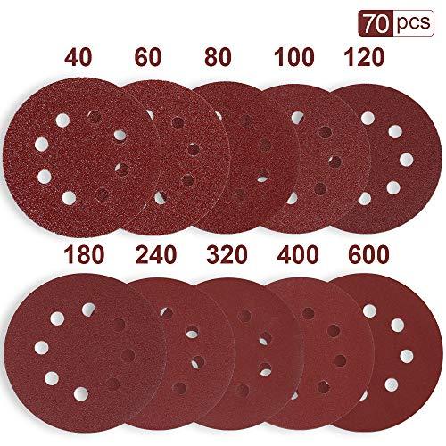 Rovtop Schleifpapier 125mm klett für schleifscheiben Ø exzenterschleifer 70 pcs 125 mm 40/60/80/100(10 Scheiben pro Körnung) 120/180/240/320/400/600(5 Scheiben pro Körnung)