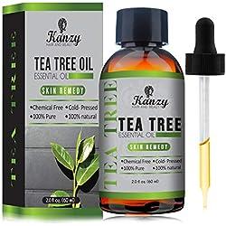 KANZY Aceite esencial de árbol de té - Para masaje - para la cara y Cuerpo - El tratamiento para el acné, los piojos y las enfermedades de la piel- 100% puro - 60ml