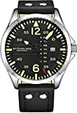 Stuhrling Original Mens Analog Sport Aviator Watch, Quick-Set Day-Date, Casual Leather Strap ... (Silver/Black)