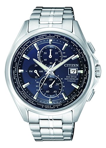 Orologio Uomo Quarzo Citizen display Cronografo cinturino Titanio Argento e quadrante Blu AT8130-56L
