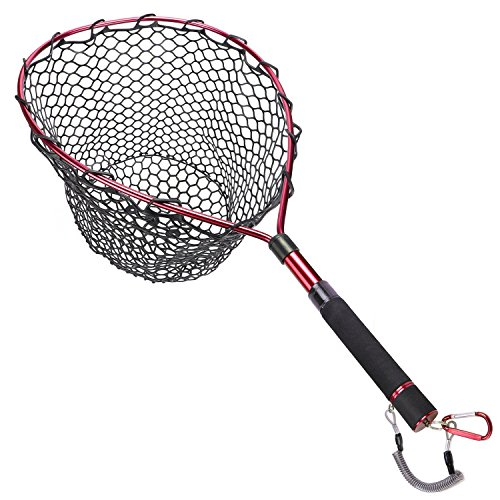 Goture clip Fly retino da pesca trota Catch and release net-Telaio in lega di alluminio con gomma morbida maglia, Black Rubber Net/Red