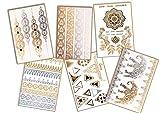 Festival & Pool & Strand - Temporäre Fake Tattoos in gold/silber/schwarz - mit 60+ Motiven, wie Armbändern, Fußketten, Blumen und Traumfänger