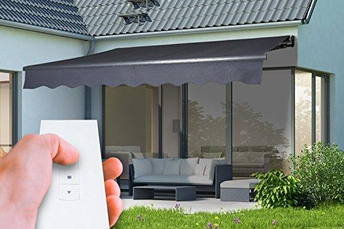 empasa Elektrische Gelenkarmmarkise Markise Sonnenmarkise Sonnenschutz, anthrazit - 300 x 250 cm