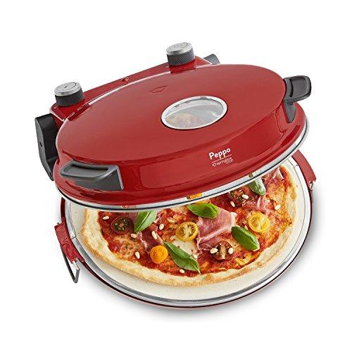 Pizzaofen Peppo 1200W | Pizzamaker | Minibackofen elektrisch für Pizza & Brot 350°C, Timer & Signallampe, inkl. Emaille-Bratpfanne & 2 großen Pizzawendern + Gratis Rezept (PDF) - rot