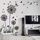 WandSticker4U®- XL Wandtattoo PUSTEBLUMEN Schwarz | Wandbilder: 165X130 cm | Wandaufkleber Löwenzahn Blumen Schmetterlinge Pflanzen | Deko für Wohnzimmer Schlafzimmer Küche Bad Flur Fenster