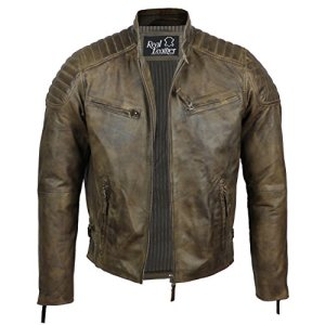 Aviatrix Herren Lederjacke, echtes Weiches Leder, Schlankes Design, Antik-Look, ausgewaschene Optik, Retro-Stil, Biker-Jacke, Braun 5