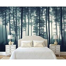 3D Nature Paysage Forêt Arbre Matin Brouillard Murale Tv Fond Mur Mur Salon Chambre Murales Papier Peint 3D Papier Peint En Soie (W)400x(H)280cm