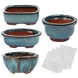 Kilofly Happy Bonsai - Juego de 4 macetas esmaltadas con 4 Pantallas de Drenaje de Malla Suave