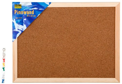 Idena 568021 - Bacheca da parete in sughero, puntine incluse, circa 30 x 40 cm