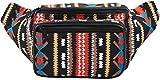 SoJourner Bags riñonera uno tamaño Azteca Tribal (Negro)