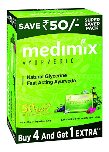 Medimix Ayurvedic Natural Glycerine Bathing Bar, 125 g (4 + 1 Offer Pack)