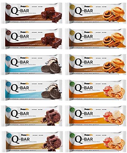 Protein Riegel Lowcarb & Low Fat Mix Box - Whey Eiweißriegel ohne Zuckerzusatz 12 x 60g Q-Bar Proteinriegel Low Carb