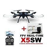 Syma X5SW Explorers FPV Fotocamera RC Quadcopter +4pcs batterie 600mAh e 4 in 1 caricatore (Nero)