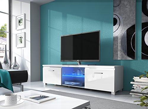 Home Innovation - TV mobile LED - porta TV, bianco mate e bianco laccato, dimensioni: 150 x 40 x 42...