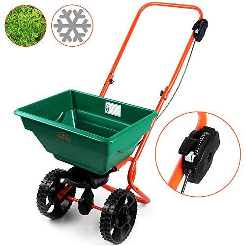 Gardebruk Streuwagen | 25L | Streubreite einstellbar | praktische Abstellfüße - Saatgutstreuer Düngerstreuer für Salz Dünger Rasen Split Saatgut