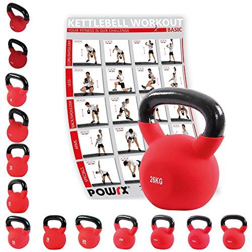POWRX - Kettlebell ghisa 4-30 kg - Rivestimento in Neoprene & PDF Workout (24 kg)