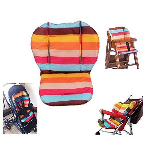 Cuscino per seggiolone, Amcho Passeggino per bambini / Seggiolone / Cuscino per seggiolino auto Pellicola protettiva Impermeabile imbottito (strisce arcobaleno)