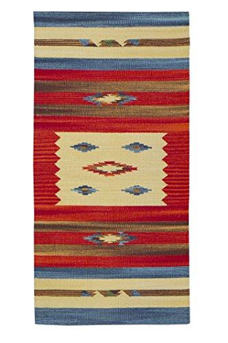 Jute & Co. Kilim Tappeto, Passatoia in Cotone di Alta qualità Tessuto a Mano, Multicolore, 60 x 120...