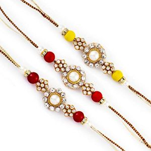 Aapno Rajasthan Set of 3 Pearl & Ad Embellished Fancy Rakhi 12