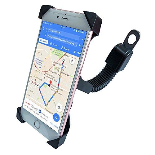 AWNIC Soporte de Móvil para Moto Bloqueo de Engranaje Fácil de Montar y Quitar Universal para 3,5'' a 6,5'' de iPhone Android Smartphone