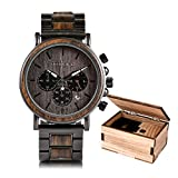 Mens Wooden Watches Quartz Watches Luxury Stainless Steel Wood Watch for Men Chronograph Wrist Watches