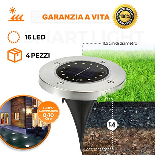 [GARANZIA A VITA] 4 Pezzi, Luce Solare da Giardino 16 LED Luce 100LM,600mAh Batteria Integrata...