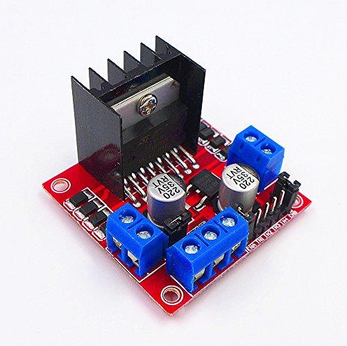 JZK® Doppio ponti H 25w 2v L298N DC motori motore passo passo bipolare per Arduino Raspberry Pi robot auto intelligente, motore step stepper modulo motore scheda driver pannello di controllo Questo modulo utilizza L298N come chip principale p...