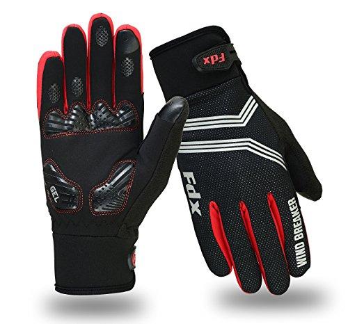 Guanti da ciclismo, antivento, con cuscinetti in gel, compatibili con touch screen, guanti con dita...
