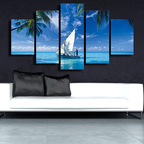 Decorazioni per la casa Moderne Soggiorno Tela 5 Pezzi/Pz Blue Ocean Sailboat Wall Art Poster HD...