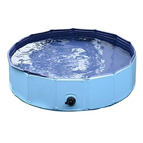 PawHut Piscina per Cani in Plastica Bordo Stabile per Animali Domestici Blu 120 x 30 cm (ØxH)