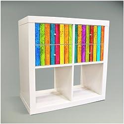 Möbelsticker für IKEA EXPEDIT (Kallax) Regal 67,8x32,6cm mit Motiv: Bunte Holzlatten