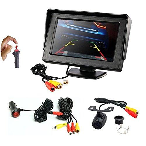 REARMASTER 4.3'LCD TFT Auto monitor e Telecamera retromarcia kit,con Connessione RCA, interruttore integrato in 12V auto accendisigari