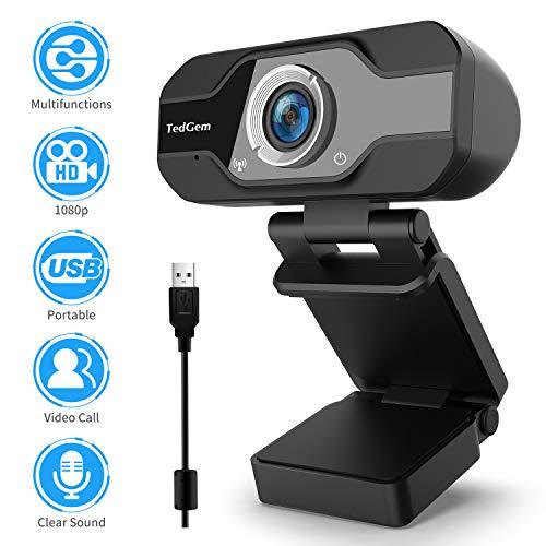 TedGem Webcam, Webcam 1080p, PC Webcam con Microfono Full HD Webcam USB Webcam Streaming Webcam per videochiamate e Registrazione, Piccola/Flessibile/Regolabile, Supporta Windows, Android, Linux