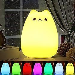omitium Luci notturne per Bambini Luce Notturna LED, Lampada Gatto di Ricarica Silicone Luce Notturna, Controllo sensibile Luce Decorazioni per camerette Letto Bambini