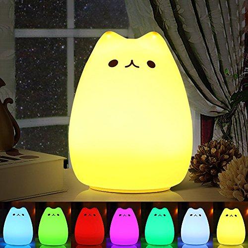 Luci notturne per bambini, omitium Luce Notturna LED, lampada gatto di ricarica silicone multicolore...