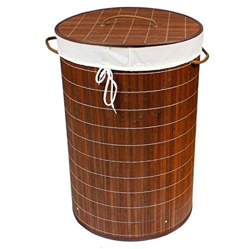 BigDean Wäschekorb 70l Bambus RUND Dunkelbraun 60x40 Wäschetruhe Wäschesammler Wäschebox Wäschesack