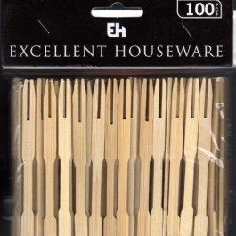 100 Forchettine in legno di bamboo da Party, per cocktail, Finger Food