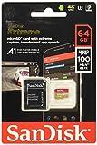 Scheda di Memoria SanDisk Extreme microSDXC da 64 GB e Adattatore SD fino a 100 MB/sec, Classe 10, U3, V30  A1/A2