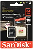 SanDisk Extreme 64 GB microSDXC memory card + SD adapter up to 100 MB / s, Gold / Red, Class 10, U3, V30, A2