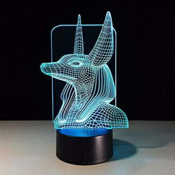 Xzfddn 7 Colores Cambian Egipto, Ilusión 3D, Cambio De Color, Luz De Escritorio Con Toque Negro, Decoración De Base, Luz Nocturna 5