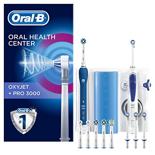 Oral-B Estación de Cuidado Bucal - PRO 3000 mango de cepillo de dientes eléctrico y Oxyjet irrigador con tecnología Braun, 4 cabezales Oxyjet, 6 cabezales de recambio