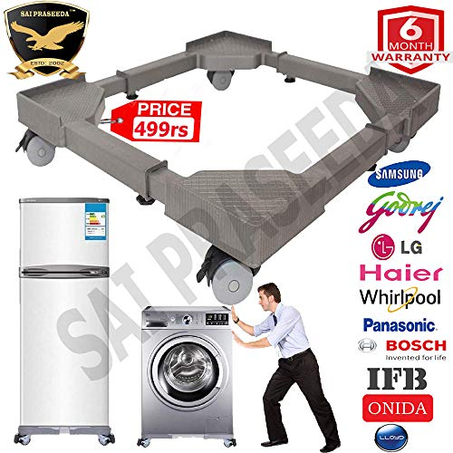 SAI PRASEEDA 6 Months Guarantee Refrigerator Stand/Washing Machine Stand (Multi Purpose Stand) Grey Color