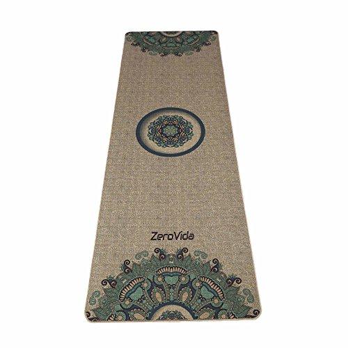 ZEROVIDA Tappetino Yoga,Tappeto Yoga Professionale,Yoga Mat Antiscivolo di Gomma Naturale con Lino...