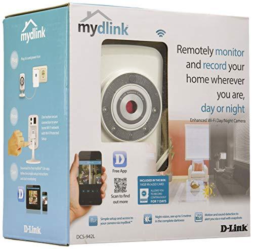 D-Link DCS-942L Videocamera di Sorveglianza, Wi-Fi N, Visore Notturno, Rilevatore di Movimenti e Suoni, Notifiche Push per Smartphone