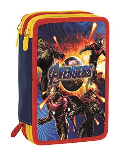 Astuccio 3 Zip Marvel Avengers, Rosso e Blu, Con materiale scolastico: 18 pennarelli e 18 pastelli...