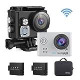 WiMiUS L2 Action Cam 4K, Sport Camera Ultra HD 12MP Fotocamera Subacquea Impermeabile 40M Schermo 2 Pollici con Kit di Accessori e 2 Batterie (Argento)