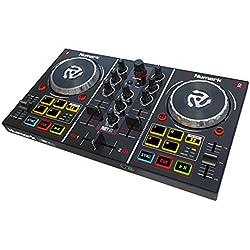 Numark Party Mix - Controlador DJ con 2 canales, salidas para altavoces y auriculares y efectos de iluminación