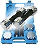 ScSPORTS 5 kg Kurzhantelset im Koffer, Kurzhanteln, Hantelscheiben-Set Chrom, blau