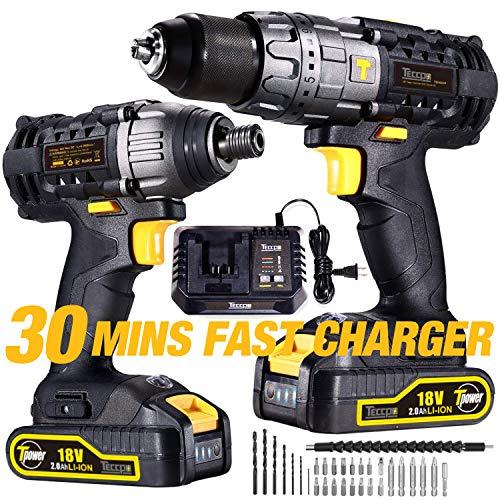 Perceuse Visseuse sans Fil, TECCPO Professional 18V Perceuse sans Fil 60Nm, Visseuse a Chocs 180Nm, 2 Batterie 2.0Ah, 29 Asseccoires, Perceuses combi, 30min Charge Rapide
